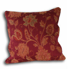 """Burgundy Cushion Feather Pad Floral 22"""" Piped Wine Gold Green Paoletti Zurich"""