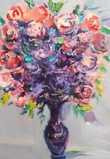 IMPRESSIONIST ROSES STILL LIFE  OIL PAINTING