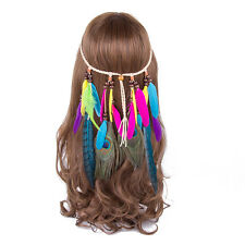 Women Girl Feather Headdress Hippy Indian Feather Headband Festival Hairband