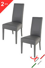 TOMMYCHAIRS - Set 2 sedie modello LUISA fusto + ecopelle colore grigio scuro