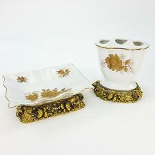 Vintage Porcelain Gold Metal Pedestal White Soap Dish & Toothbrush Holder Roses