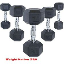 NEW COATED RUBBER HEX DUMBBELLS ( LOTS OF PAIRS) (10,15,20 LB) or (10,20 LB)