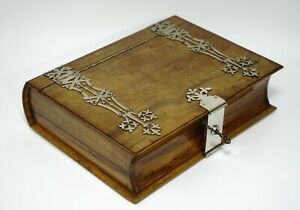 VICTORIAN JEWELRY WOODEN ROSEWOOD BOX CASKET NOVELTY BOOK SHAPE BINDING & LOCK