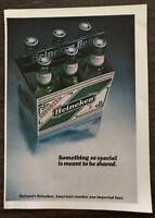ORIGINAL 1981 Heinken Beer PRINT AD Six Pack Bottles