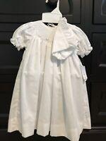 Petit Ami Hand Embroidered White Baby Girl Dress Bonnet Wedding Christening 3 Mo