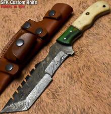 New ListingSfk Rare Handmade Damascus Steel Camel Bone Bushcraft Art Hunting Tracker Knife