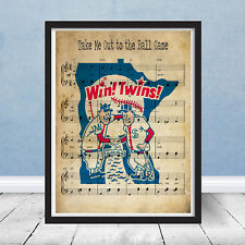 Framed Take Me Out Ball Game Vintage Minnesota Twins Logo Music Print Wall Art