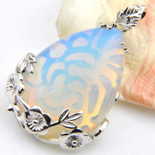Retro Style Huge Oval Rainbow Fire Moonstone Silver Necklace Pendants 2 1/4 Inch