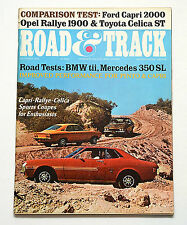 Road & Track Mag. Oct.'71 Opel Rally, Lola 260, BMW tii, Mercedes 350 SL, Celica