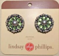 Lindsay Phillips Zia Citrine Shoe Snaps Green Crystals & Faux Pearls Set Of Two
