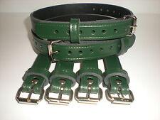 Dolls Pram Coach built vintage pram real leather  suspension straps in Green