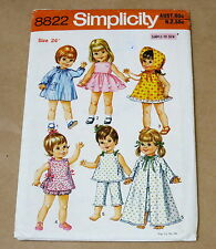 """SIMPLICITY VINTAGE 24"""" DOLLS COLTHES SEWING PATTERN 8822"""