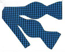 Blue Bow tie / Bright Blue & Black Houndstooth Bow tie / Self-tie Bow tie