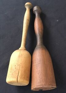 "2 Antique  Primitive Wooden Farmhouse Potato Mashers Pounders 11"""