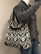 FOSSIL Black & White Floral Fabric Tote, Shoulder Bag