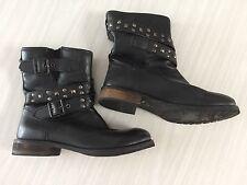 "REBECCA ""Lisbeth"" Black Leather Studded Biker Boots 37"