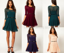 4 Colours Womens Spoon Neck 3/4 Sleeve Lace Skater Dress Belt Include 8-18 A001