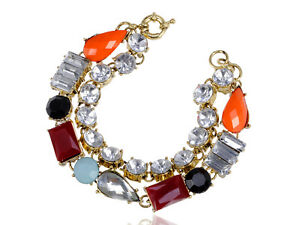Popular Multicoloured Bead White Rhinestone Accented Bracelet Chain Jewelry Cuff