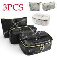 3PCS Women Fashion Marbe Cosmetic Bag Multifunction Makeup Brush Bag Travel Bag