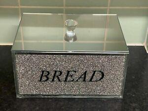 XXL Diamond Bread Bin Container Jar Kitchen Storage Crystal Silver Bling Gift