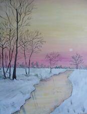 ORIGINALE pittura acrilica su tela-Serenity-WINTER Sunset 20x16