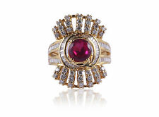 3.14 Cts Round Brilliant Cut Diamonds Ruby Cocktail Ring In Fine 14K Yellow Gold