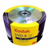 100 Kodak DVD-R 16X Logo Branded DVD-R DVDR Blank Media Disc 4.7GB