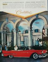 1958 Cadillac Red Convertible Car Photo Eldorado Advertising Print Ad