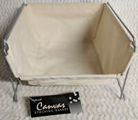 Basket Metal Organizer Natural Canvas Stacking Laundry Room Kitchen New 9x13x13
