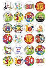 24 30th Birthday Unisex Wafer / Rice Paper Cupcake Topper Edible Fairy Cake Tops