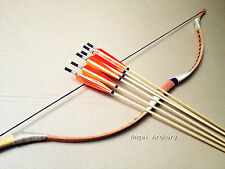 Chinese Handmade Pigskin longbow20-80lb for Archery hunting+6 wooden arrows