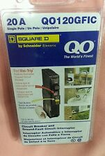 QO120GFI Square D , 1  Pole 20 A , 120V ,GFI ,GFCI Breaker New in box