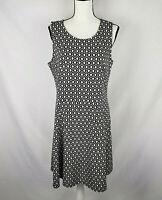 H&M Womens Black White Fit & Flare Open Back Sleeveless Dress Size XL  h2