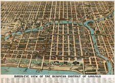 "20x30"" CANVAS Decor.Room design print.1898 Birdeye view Chicago business.6087"