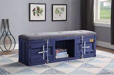 Bench (Storage) - Gray Fabric & Blue Tianjin