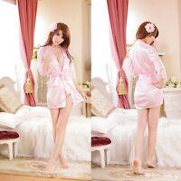 Underwear Silk Robe Pajamas Soft Sleepwear Satin Lace Nightdress Lingerie