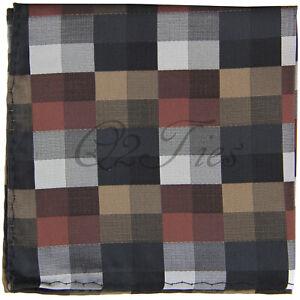 Men's Plaid Multicolored Checkered Tartan Pocket Square 10 x 10 in Handkerchief