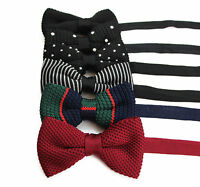 MENS KNITTED BOW TIE PRE-TIED MEN'S BOWTIE WEDDING FORMAL TIES BLACK WHITE DOTS