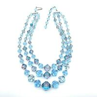 Vintage W Germany Necklace Topaz Blue Faceted AB Lucite Beads Multi Strand ST B5
