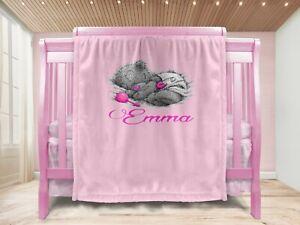 Personalised Baby Girl Gift Throw Blanket Keepsake Pink/BIB