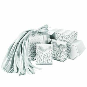 100x Hochzeit Gastgeschenk Schachtel Kartonage Geschenkbox Schokolade Box Silber
