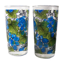 2 Mid Century Barware Grapes Tumblers Anchor Hocking Glass Mercer Signed