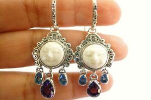 Balinese Goddess Close Eyes Amethyst Blue Topaz 925 Sterling Silver Earrings