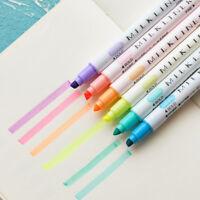 12pcs Marker Pens Soft writing Headed Fluorescent Pen Art Highlighter Drawing EB