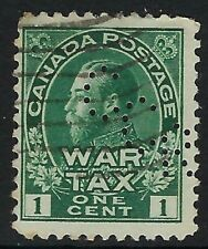 Perfin C11-CCR Canadian Consolidated Rubber: Scott MR1, 1c Brown War Tax, Pos. 1