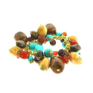 Crystal Glass Bead Cha Cha Stretch Bracelet 1 inch