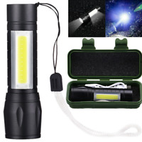 LED Torch USB Rechargeable Flashlight Police Zoomable Camping Hiking Lamp Mini