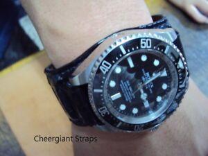 Bund style crocodile strap Rolex custom made watch band MIT 勞力士寬墊片鱷魚錶帶訂製手工錶帶