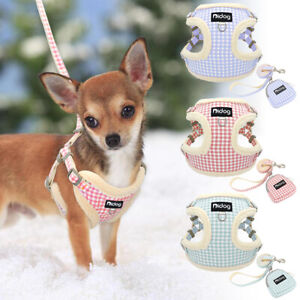 Warm Fleece Padded Dog Vest Harness and Leash Cute Plaid for Small Dog Walking