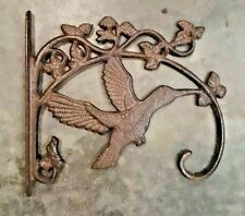 Hummingbird Plant Hanger, brown bronze finish, cast iron, pot hook